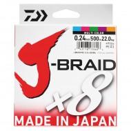 TRESSE DAIWA J-BRAID X8 MULTICOLORE - 150m, 300m, 500m et 1500m